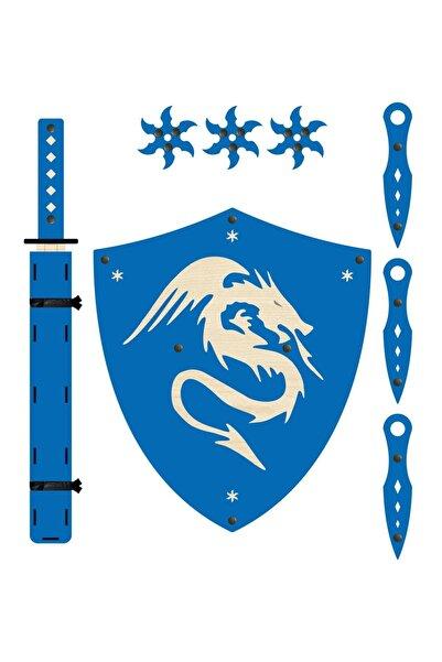 Ahtek Ahşap Samuray Seti 4 Lü, Kalkan + Katana Kılıcı + Ninja Yıldızı Kohga + Fırlatma Bıçağı Kunai, Mavi