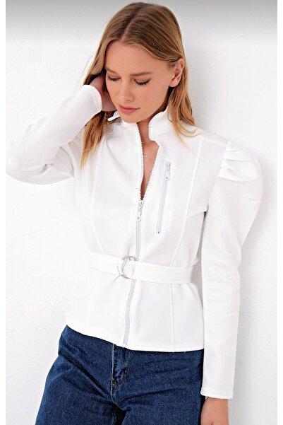 NICE CHOICE Kadın Balon Omuz Scuba Kumaş Kemerli Ceket Beyaz
