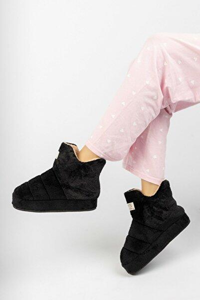 EDS Shoes Peluş Boğazlı Kolay Giyilebilen Yumuşak Taban Pofuduk Ses Yapmaz Ev Botu