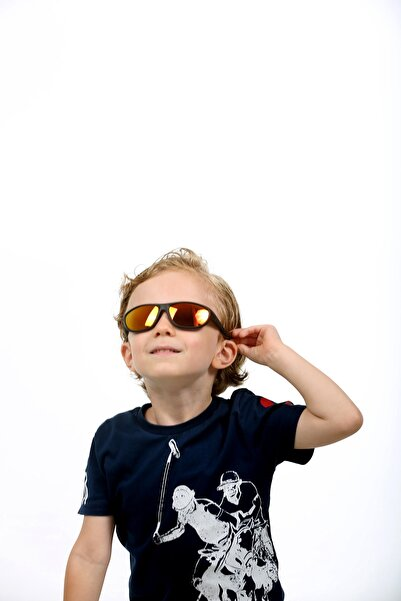 JULIANO Unisex Çocuk Black Oval Aynalı Güneş Gözlüğü