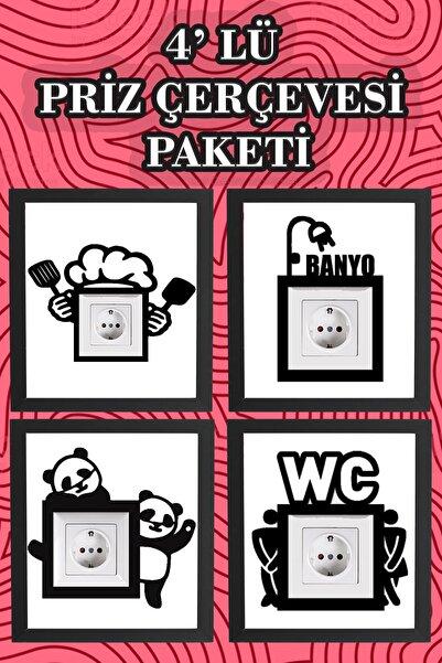 Balımo 4'lü Priz Çerçevesi Tüm Ev Paketi Siyah Lazer Kesim Dekorasyon Ürünü
