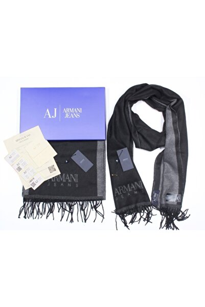 Armani Jeans Aj Jeans Logolu Unisex Siyah-füme Atkı Kaşkol