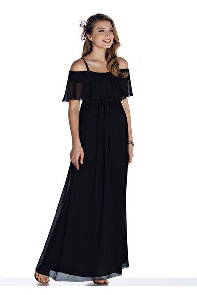Ebru Maternity 3411 - Şifon Hamile Abiye Elbise Siyah