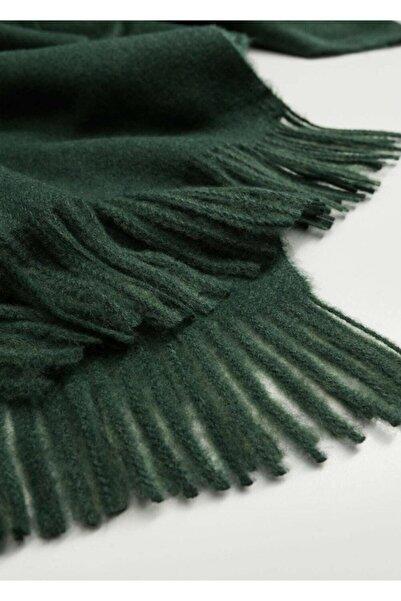 MANGO Woman Kadın Bilardo Yeşili Saçaklı Fular