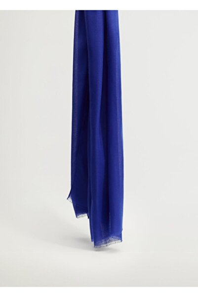 MANGO Woman Kadın Mavi Kenarları Dikişsiz Fular