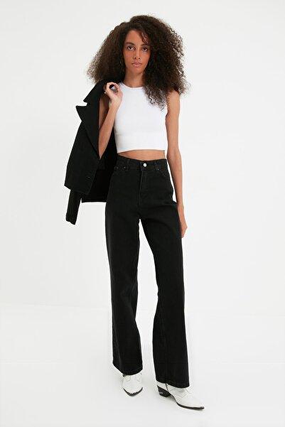 TRENDYOLMİLLA Siyah Yüksek Bel Wide Leg Jeans TWOAW22JE0794