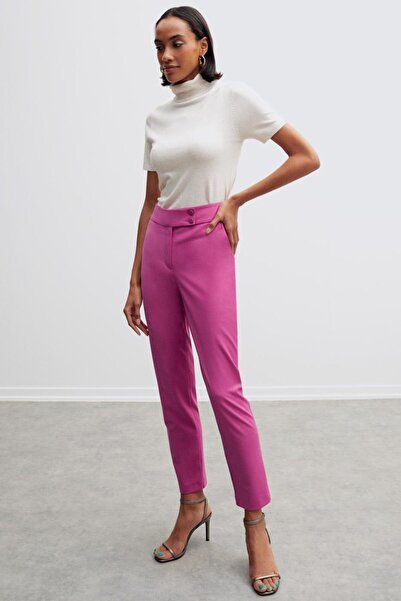 Perspective Alain Normal Kalıp Yün Karışımlı Erguvan Rengi Pantolon