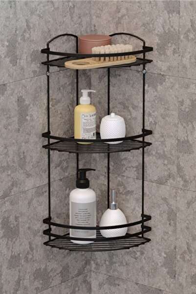 Teknotel Üç Katlı Banyo Duş Köşe Rafı Mat Siyah Lm009