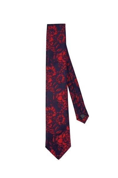 Ferrini Lacivert Kırmızı Desenli Klasik Kravat