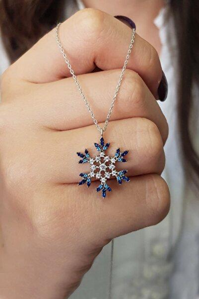Parmas Design Kadın Kar Tanesi Mavi Renk Geçişli 925 Ayar Gümüş Kolye