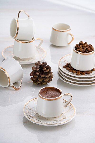 ACAR Milla 6'lı Porselen Mermer Desen Kahve Fincan Takımı