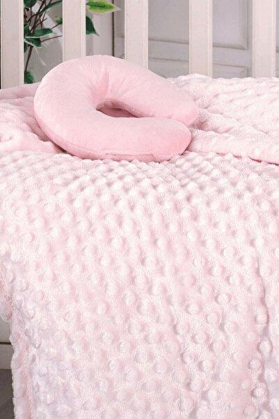 AKSU Tomurcuk Kız Bebek Battaniyesi Boyunluk Hediyeli 90x110 Cm