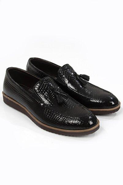 DeepSEA Siyah Püsküllü Timsah Desenli Kaymaz Tabanlı Rugan Erkek Deri Ayakkabı 2106427