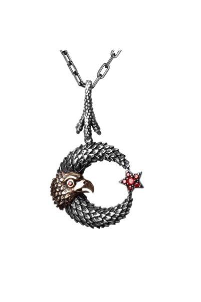 Candie Silver 50 Cm Kalın Zincirli Ay Yıldız Şahin Motifli Kırmızı Taşlı 925 Ayar Gümüş Erkek Kolye