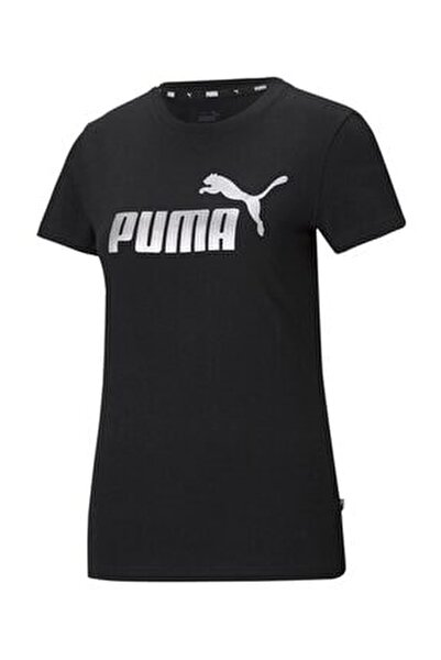 Ess Metallic Logo Tee Kadın T-shirt Black-sılver 586890-51