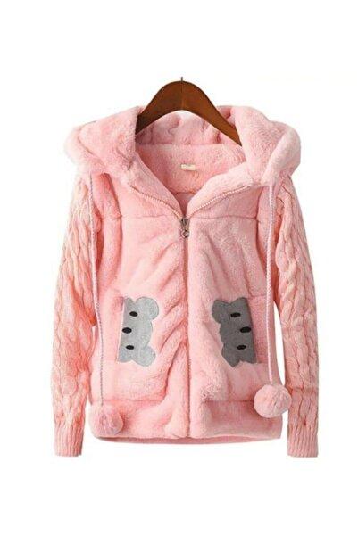 Riccotarz Kız Çocuk Ayıcıklı Pembe Peluş Ceket