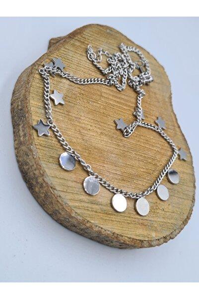 Elegante Kadın Pullu Yıldızlı Silver Çelik Kolye
