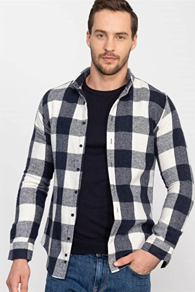 Tudors Slim Fit Kareli Kışlık Unisex Gömlek