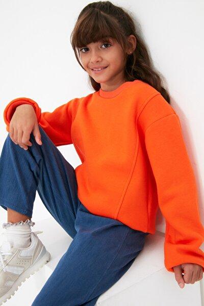 TRENDYOLKIDS Turuncu Basic İçi Polarlı Kız Çocuk Örme Kalın Sweatshirt TKDAW22SW0714