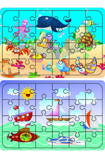 W-Design Ahşap 24 Parça Eğitici 2 Adet Yapboz Puzzle Seti
