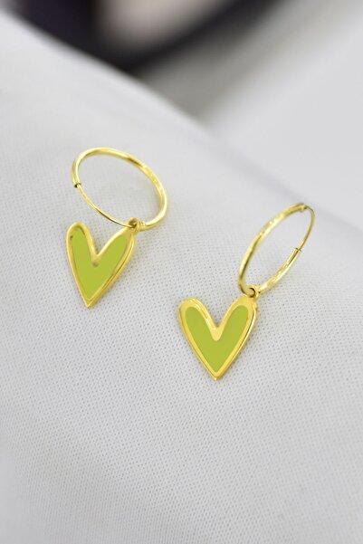 Papatya Silver 925 Ayar Gümüş Altın Kaplama Sarı Mineli Kalp Halka Küpe