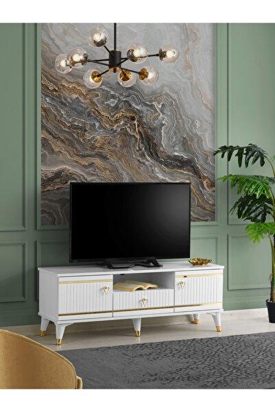 Venüs 130 Cm Kordon Gold Tv Sehpası Beyaz