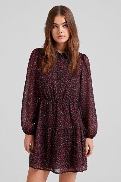 Bershka Tamamı Desenli Elbise