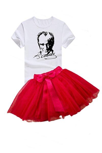 bba new trend Atatürk Baskılı Tişort Kırmızı Etek 29 Ekım Gösteri 23 Nisan Set