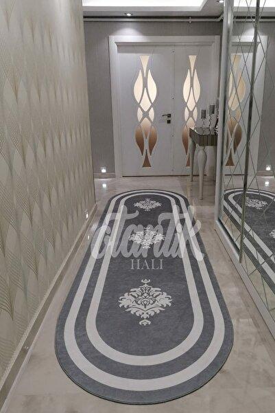 Otantik Home Soft Kaymaz Dot Taban Dijital Baskılı Makinada Yıkanan Gri Oval Mutfak Halısı Yolluk Koridor-sf544