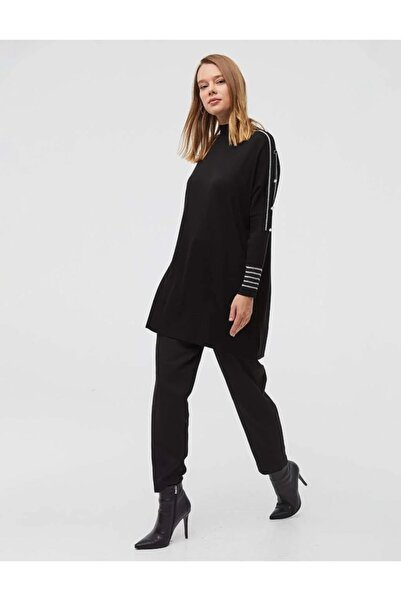 Kayra Şeritli Dik Yaka Triko Tunik Siyah