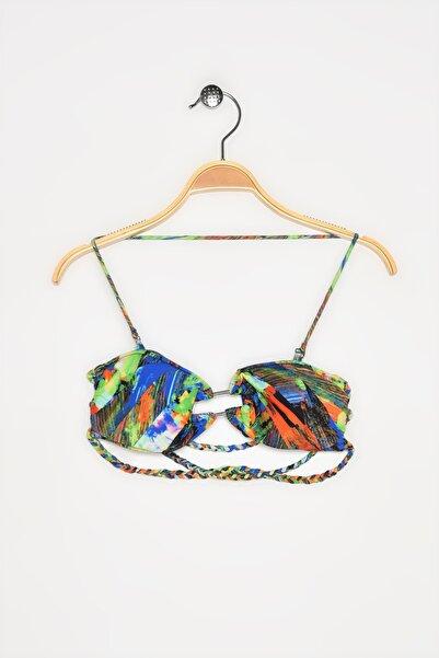 Koton Kadın Mavi Desenli Bikini Üstü 4YAK89954BM
