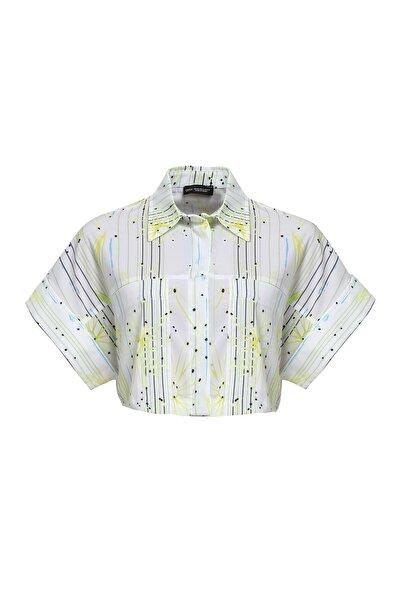 Quzu Kadın Sarı Çizgili Crop Gömlek