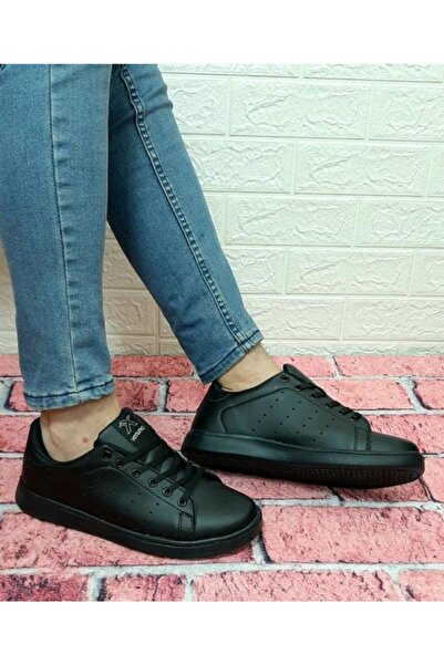 Venuma Siyah Düz Taban Sneaker Fuspetli Ortapedik Filesiz Spor Ayakkabı