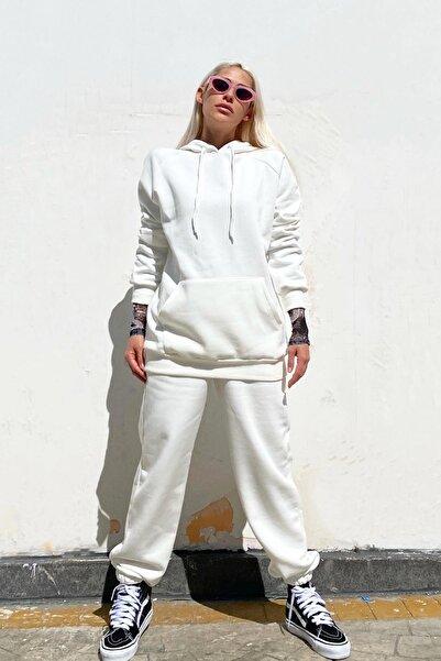 SwistLuxury Beyaz Oversize Kapüşonlu Içi Pamuklu Eşofman Takımı