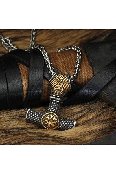 Viking Thor Mjolnir Vegvisir & Triquetra Işlemeli Iskandinav Hammer & Örgü Zincir Erkek Çelik Kolye