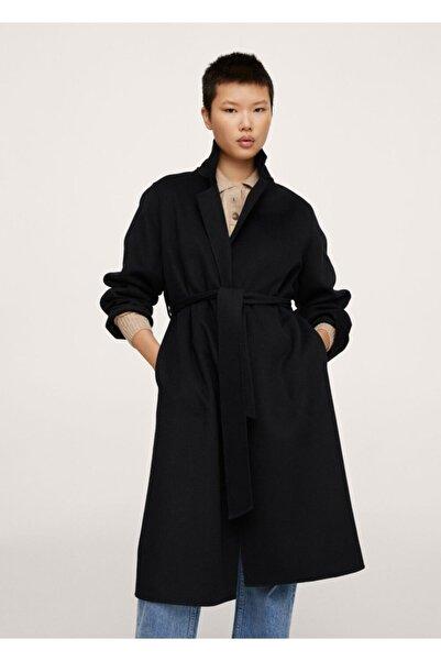 MANGO Woman Kadın Siyah Kemerli El Yapımı Palto
