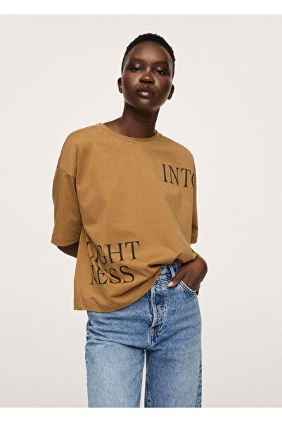 MANGO Woman Kadın Kahverengi Yazılı Tişört