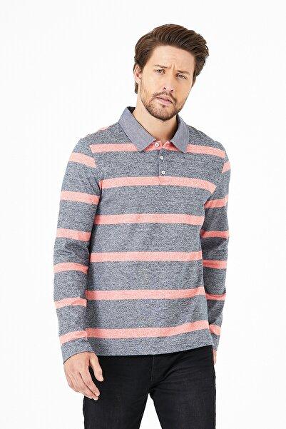 UNV COLLECTION Erkek Gri Pembe Çizgili Uzun Kollu Polo Yaka T-shirt