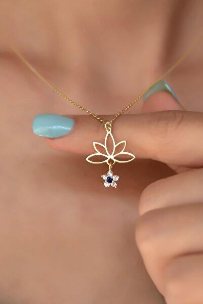 Papatya Silver 925 Ayar Gümüş Altın Kaplama Mavi Çiçekli Lotus Çiçeği Kolye