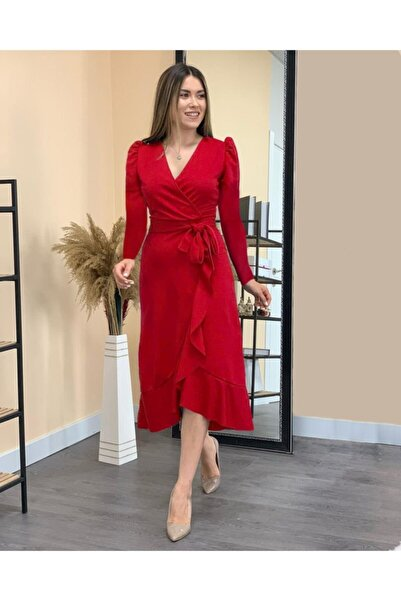 Masspera Kadın Kırmızı Kruvaze Yaka Krep Kumaş Midi Boy Kuşaklı Elbise