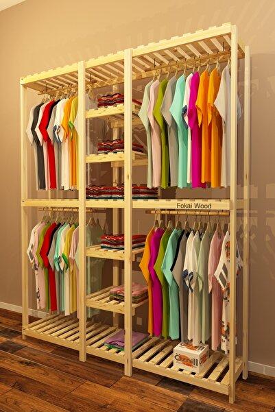 Fokai Wood Quatro - Açık Ahşap El Yapımı Elbise Dolabı