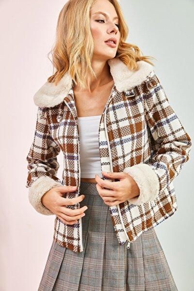 Bianco Lucci Kadın Kolları Ve Yakası Kürklü Ekose Desenli Ceket