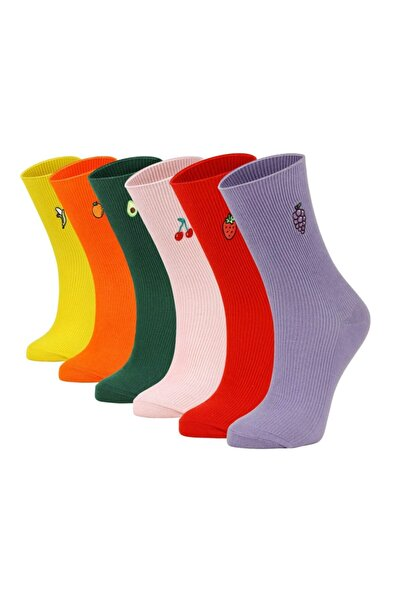 Bolero Meyve Nakışlı 6'lı Renkli Kadın Çorabı