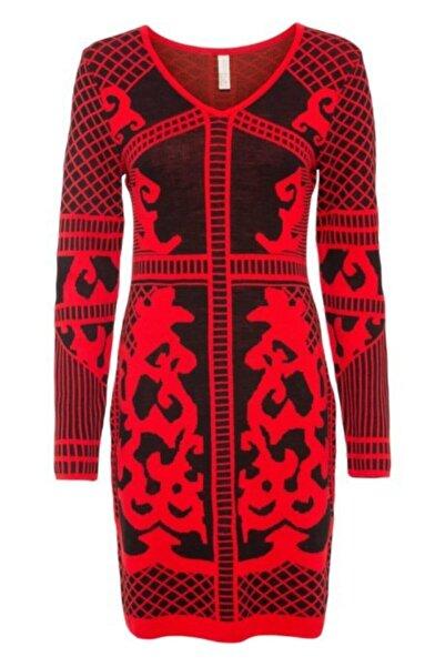 Fashion'Ss Kırmızı Şık Triko Elbise