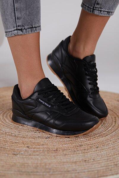 Tonny Black Siyah Cilt Unisex Sneaker V2106-0