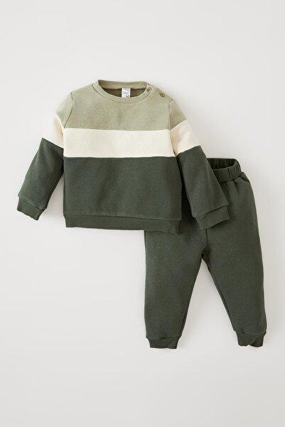 DeFacto Erkek Bebek Renk Bloklu Içi Yumuşak Tüylü Uzun Kollu 2'li Takım