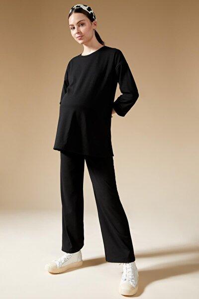 DeFacto Kadın Siyah İspanyol Paça Örme Hamile Pantolon S5200AZ21AU