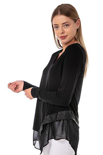 EtkiModa Kadın Siyah Şifon Astarlı Eteği Deri Detaylı Asimetrik Tunik