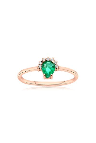 Smyrna Jewelry 14k Minimalist Damla Zümrüt Pırlanta Yüzük