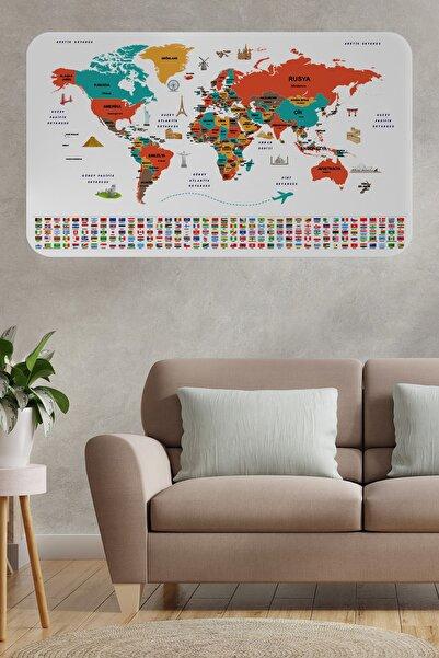Harita Sepeti Türkçe Ülke Bayrak Lı Eğitici Başkent Detaylı Atlası Dünya Haritası Duvar Sticker